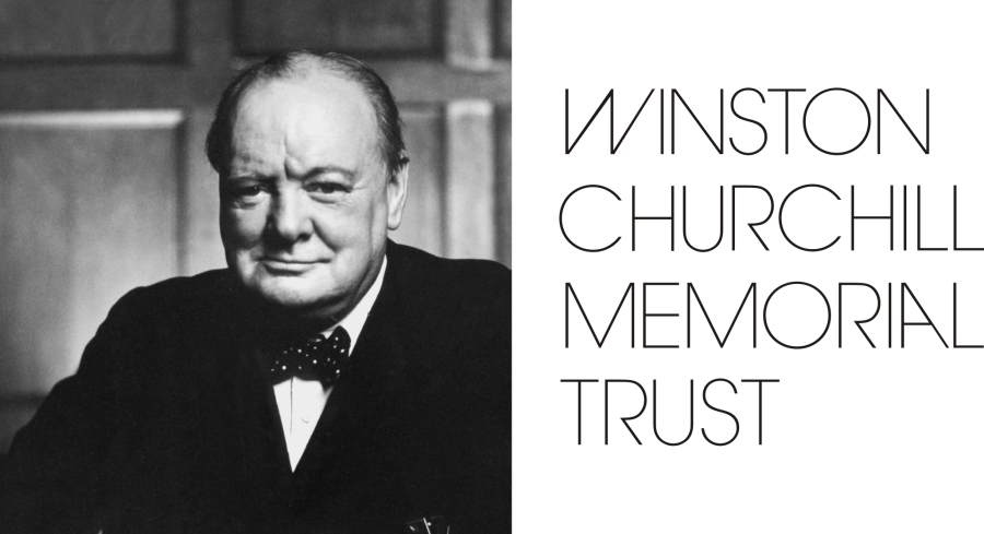 Large WCMT logo with Churchill image on left - black text on white background